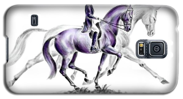 Galaxy S5 Case featuring the drawing Trot On - Dressage Horse Print Color Tinted by Kelli Swan