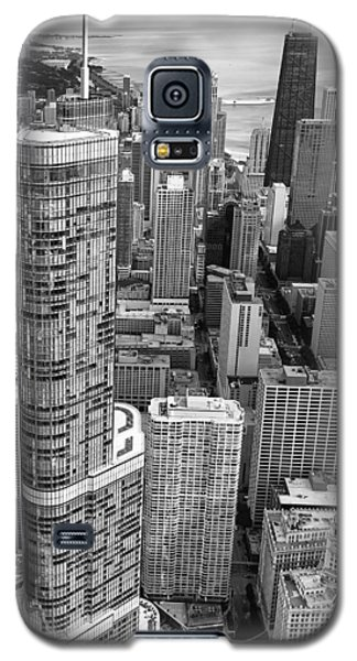 Galaxy S5 Case featuring the photograph Trump Tower And John Hancock Aerial Black And White by Adam Romanowicz
