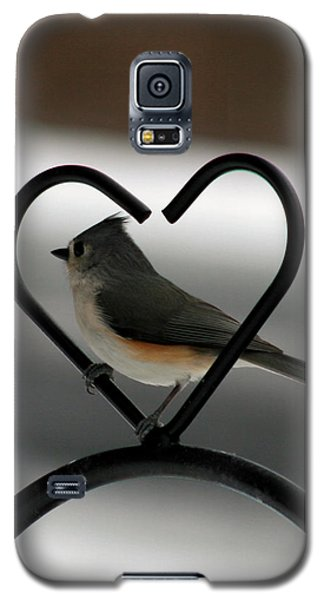 Tufted Titmouse In A Heart Galaxy S5 Case by George Jones