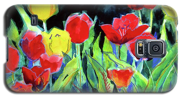 Galaxy S5 Case featuring the painting Tulip Bed At Dark by Kathy Braud