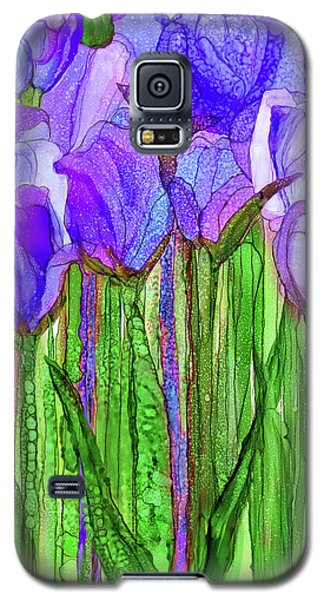 Galaxy S5 Case featuring the mixed media Tulip Bloomies 1 - Purple by Carol Cavalaris