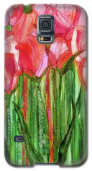 Galaxy S5 Case featuring the mixed media Tulip Bloomies 1 - Red by Carol Cavalaris