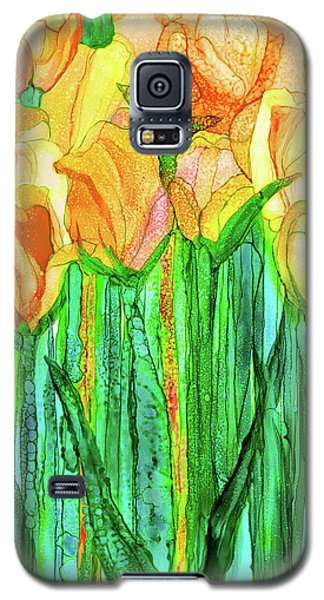 Galaxy S5 Case featuring the mixed media Tulip Bloomies 1 - Yellow by Carol Cavalaris