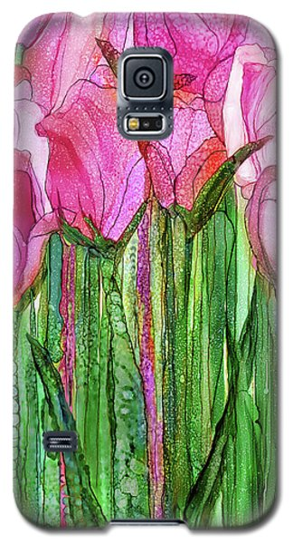 Galaxy S5 Case featuring the mixed media Tulip Bloomies 2 - Pink by Carol Cavalaris