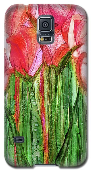Galaxy S5 Case featuring the mixed media Tulip Bloomies 2 - Red by Carol Cavalaris