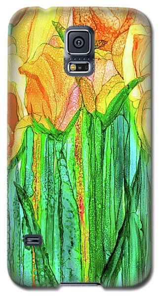 Galaxy S5 Case featuring the mixed media Tulip Bloomies 2 - Yellow by Carol Cavalaris