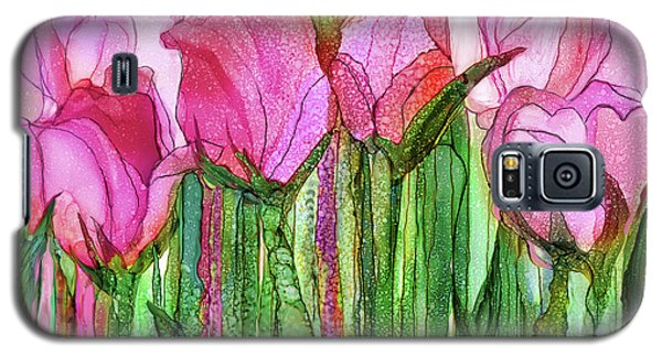 Galaxy S5 Case featuring the mixed media Tulip Bloomies 3 - Pink by Carol Cavalaris