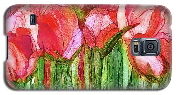 Galaxy S5 Case featuring the mixed media Tulip Bloomies 3 - Red by Carol Cavalaris