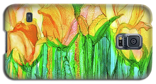 Galaxy S5 Case featuring the mixed media Tulip Bloomies 3 - Yellow by Carol Cavalaris