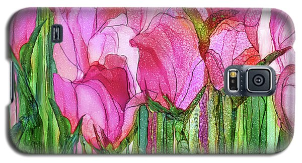 Galaxy S5 Case featuring the mixed media Tulip Bloomies 4 - Pink by Carol Cavalaris