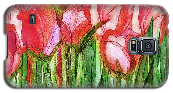 Galaxy S5 Case featuring the mixed media Tulip Bloomies 4 - Red by Carol Cavalaris