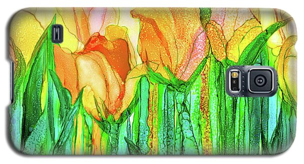 Galaxy S5 Case featuring the mixed media Tulip Bloomies 4 - Yellow by Carol Cavalaris