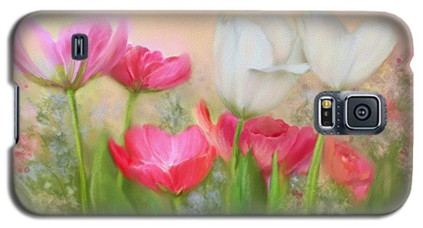 Galaxy S5 Case featuring the painting Tulip Garden by Bonnie Willis