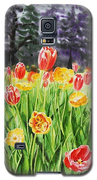 Galaxy S5 Case featuring the painting Tulip Garden In San Francisco by Irina Sztukowski