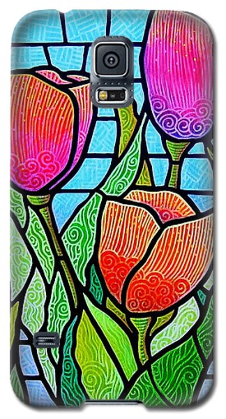 Galaxy S5 Case featuring the painting Tulip Garden by Jim Harris