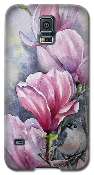 Galaxy S5 Case featuring the painting Tulips And Titmouse by Mary McCullah