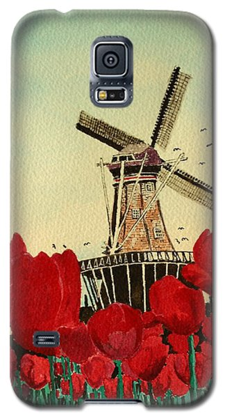 Tulips And Windmill Galaxy S5 Case by Diane Merkle