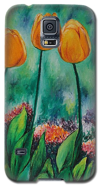 Galaxy S5 Case featuring the painting The Three Tulips by Miriam Shaw
