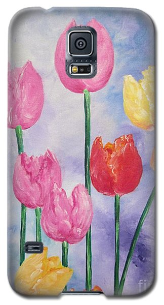 Galaxy S5 Case featuring the painting Tulips - Red-yellow-pink by Sigrid Tune
