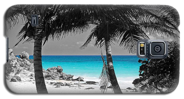 Galaxy S5 Case featuring the digital art Tulum Mexico Beach Color Splash Black And White by Shawn O'Brien