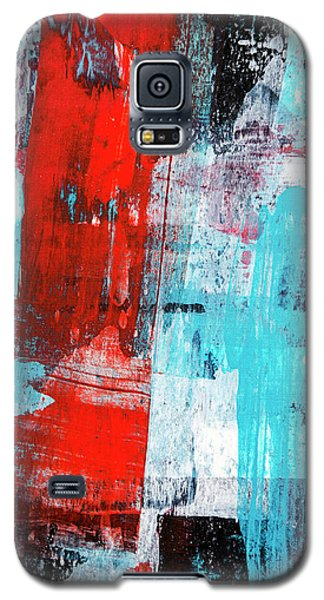 Galaxy S5 Case featuring the painting Turquoise And Red Abstract Painting by Christina Rollo