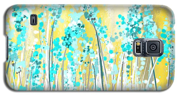 Turquoise And Yellow Galaxy S5 Case by Lourry Legarde