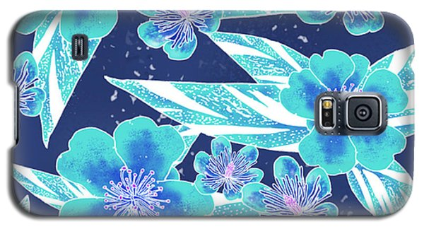 Turquoise Batik Camellias And Ginger Large Galaxy S5 Case