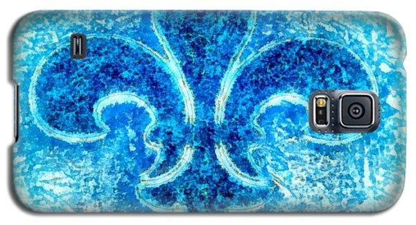 Turquoise Bleu Fleur De Lys Galaxy S5 Case