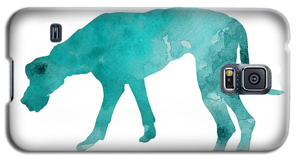 Turquoise Great Dane Watercolor Art Print Paitning Galaxy S5 Case by Joanna Szmerdt