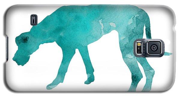 Dog Galaxy S5 Case - Turquoise Great Dane Watercolor Art Print Paitning by Joanna Szmerdt