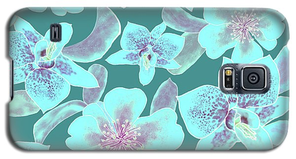 Turquoise Spotted Orchids On Teal Galaxy S5 Case