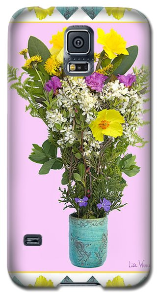 Galaxy S5 Case featuring the digital art Turquoise Vase With Spring Bouquet by Lise Winne