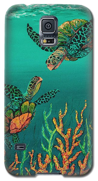 Galaxy S5 Case featuring the painting Turtle Love by Darice Machel McGuire