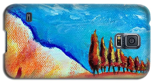 Galaxy S5 Case featuring the painting Tuscan Cypress by Elizabeth Fontaine-Barr