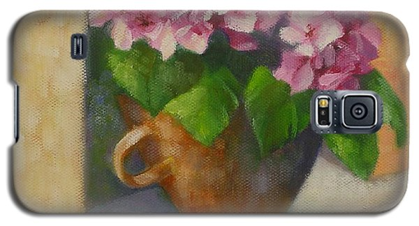 Galaxy S5 Case featuring the painting Tuscan Flower Pot Oil Painting by Chris Hobel