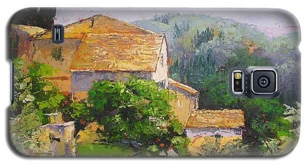 Galaxy S5 Case featuring the painting Tuscan Village by Chris Hobel