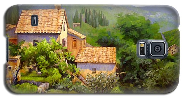 Galaxy S5 Case featuring the painting Tuscan Village Memories by Chris Hobel