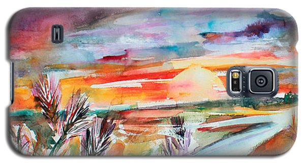 Galaxy S5 Case featuring the painting Tuscany Landscape Autumn Sunset Fields Of Rye by Ginette Callaway