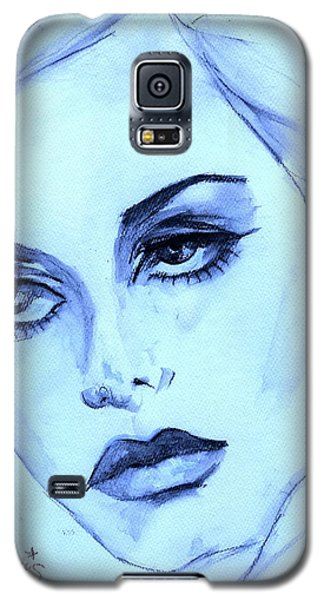 Galaxy S5 Case featuring the painting Twiggy In Blue by P J Lewis