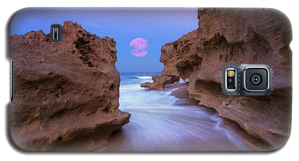 Twilight Moon Rising Over Hutchinson Island Beach Rocks Galaxy S5 Case by Justin Kelefas
