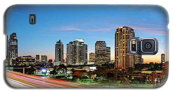 Twilight Panorama Of Uptown Houston Business District And Galleria Area Skyline Harris County Texas Galaxy S5 Case