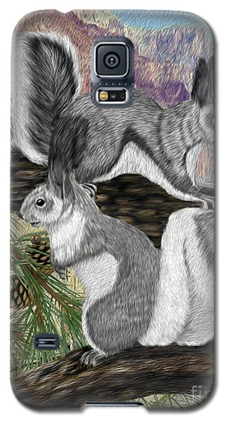 Galaxy S5 Case featuring the digital art Two Abret Squirrels by Walter Colvin