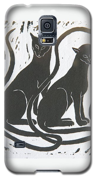 Galaxy S5 Case featuring the drawing Two Black Felines by Nareeta Martin