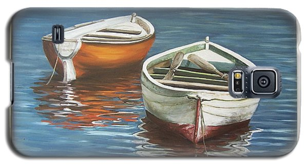 Galaxy S5 Case featuring the painting Two Boats by Natalia Tejera