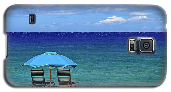 Galaxy S5 Case featuring the photograph Two Chairs And An Umbrella by James Eddy