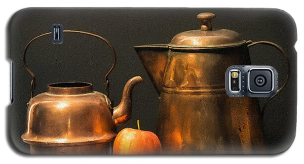 Galaxy S5 Case featuring the photograph Two Copper Pots And An Apple by Frank Wilson