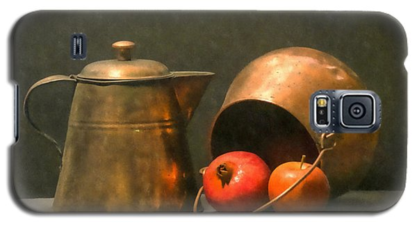 Galaxy S5 Case featuring the photograph Two Copper Pots Pomegranate And An Apple by Frank Wilson
