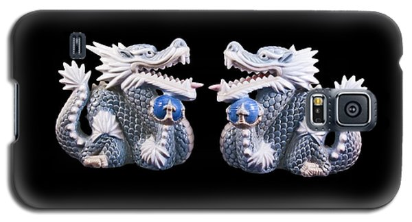 Two Dragons On Black Galaxy S5 Case by Bill Barber