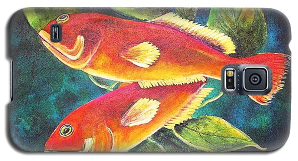 Galaxy S5 Case featuring the painting Two Fish by Patricia Piffath
