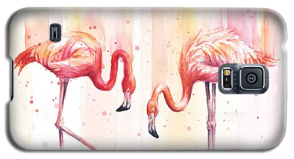 Two Flamingos Watercolor Galaxy S5 Case by Olga Shvartsur